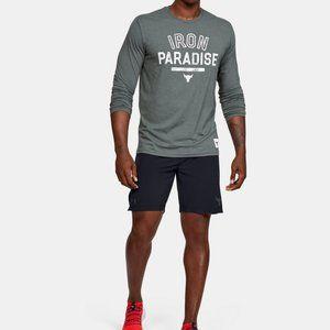 Under Armour Rock Iron Paradise Long Sleeve Gray T-shirt UA Tech Fabric Logo M